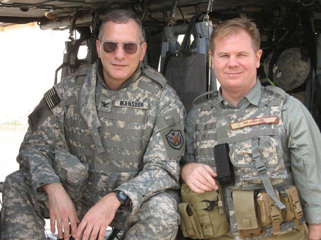 COL Pete Mansoor and Dave Kilcullen in Baghdad (June 2007).JPG