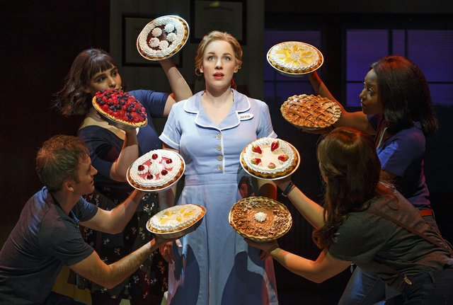 Jessie Mueller as Jenna and Cast in the Original Broadway Production of Waitress Credit Joan Marcus 2016.jpg