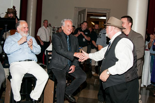 Shawshank fan shaking Bob Gunton's hand at 20th Anniversary.jpg