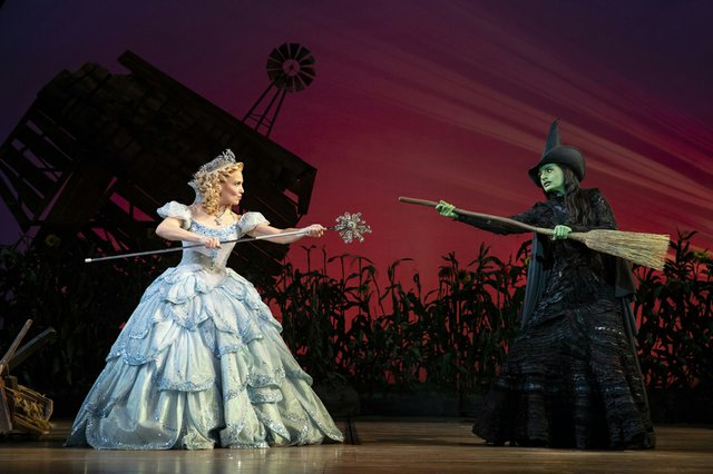 Kara Lindsay as Glinda and Jackie Burns as Elphaba in WICKED. Photo by Joan Marcus (0268r2) (002).jpg