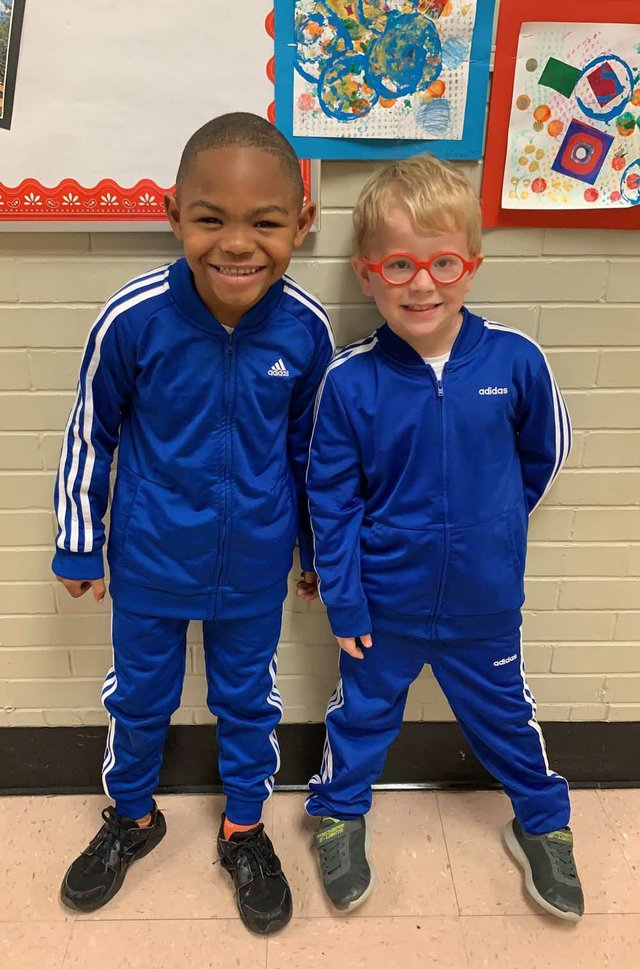 Stevenson Elementary first graders Kaden Allen and Griffin Tipple are ready for a health and wellness workout.  (Photo courtesy of Amanda Parnell).jpg