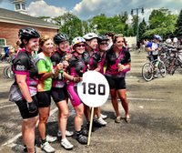 Tanny Crane and Fellow 180 Mile Riders at the Market Square Finish 2013.jpg