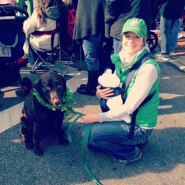 Betsy Root with chocolate lab Jayna and son, James, at Dublin Saint Patrick's Day parade 2014