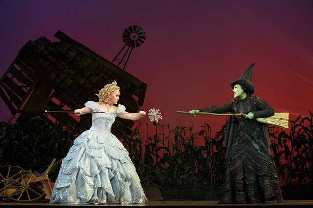 Amanda Jane Cooper as Glinda and Emily Koch as Elphaba. Photo by Joan Marcus.jpg